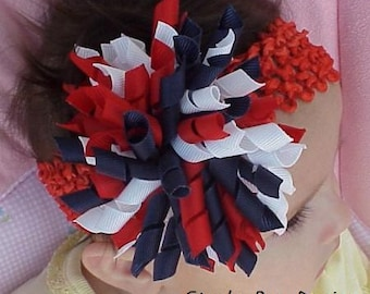 July 4th Red White Navy Blue Korker Hair Bow Headband for Infants and Toddlers