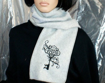 Gothic Skeleton Key Embroidered Grey Scarf MTCoffinz - Ready to Ship Sample Sale