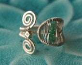 sterling silver and emerald wire wrapped ring adjustable