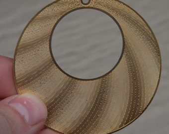 Large Round Disk with Big Hole, Matte Finished 16K Gold Plating over Brass \/ 55mm