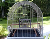 Vintage Bird Cage Crown Art Deco With Feeders 1930's