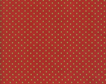 Cotton Quilt Christmas Fabric Christmas Past by Minick & Simpson for Moda a Generous One Yard Cut Red with Green Dots Stash Builder DIY Sew