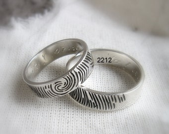 Fingerprints sterling silver Rings wedding band Personalized jewelry, Personal fine ring, blackened, band, promise ring, handmade