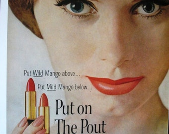 COS-126   Put on The Pout Lipstick Ad  -  1962