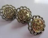 Vintage Buttons- 3 beautiful matching flower design,rhinestones 1950's silver metal,  (lot jan 127b)
