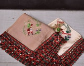 Pair of Vintage Frae Bonnie Scotland Handkerchief Hankies Embroidered Beige Cream Red and Green Woven Trim Pocket Squares