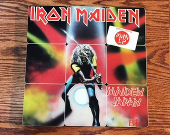 Iron Maiden recycled Made in Japan album cover coasters with record bowl