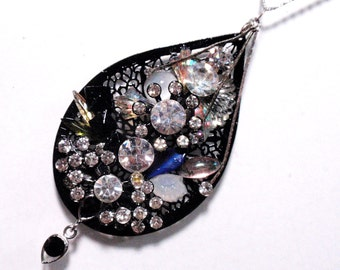 Huge Black and White Tuxedo Rhinestone Tear Drop Statement Pendant Assemblage Wearable Art Home Decor Hangy Thing Christmas Ornament