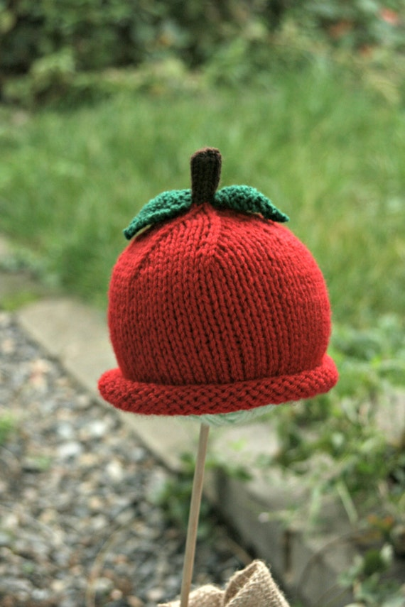 PATTERN Knit Newborn Apple Hat PATTERN apple cup fall baby