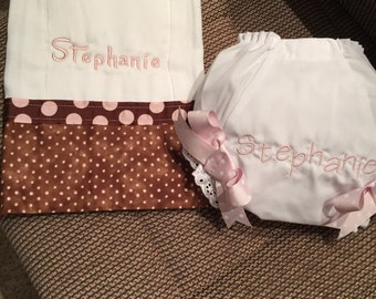 2 piece burp cloth and diaper cover set pink brown polka dots