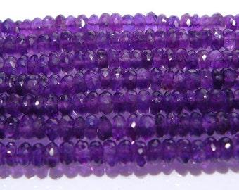 AA Genuine Amethyst Faceted Rondelle Gemstone Beads....5-6mm....10 Beads