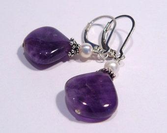 Amethyst FW Pearl Gemstone  Lever back Dangle Earrings