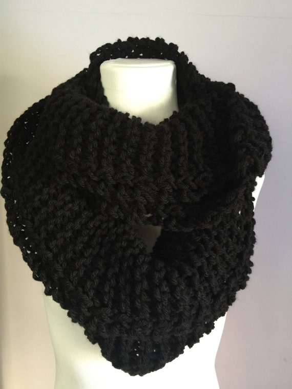 Hand Knit Light Infinity Circular Scarf Extra Wide Pure Black Wool Scarf
