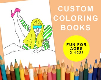 custom adult coloring book downloadable illustration digital file custom printable wedding coloring book - Custom Coloring Book
