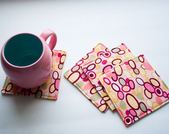 4 Fabric Reversible Coasters in Pink Dots and Amy Butler Martini Moss