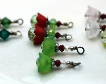 5 Pair of Baby Bell Lucite Flower Bead Dangle Charm Drop Sets In Red Green and White