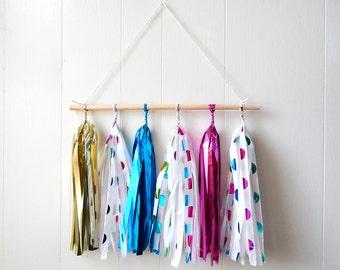 Tissue Tassel Wall Hanging - Nursery Decor - Office Decor - Kids Room Decoration - Photo Prop - Clown Decor - Circus Party