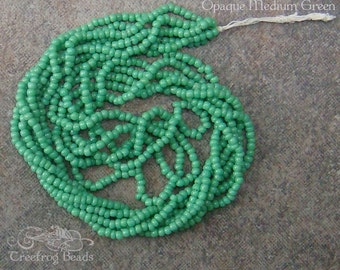 Size 16/0 Vintage Antique Micro Seed Beads - Opaque Medium Green