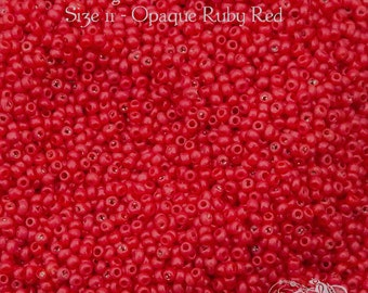Size 11/0 Vintage Venetian Seed Beads - Opaque Ruby Red