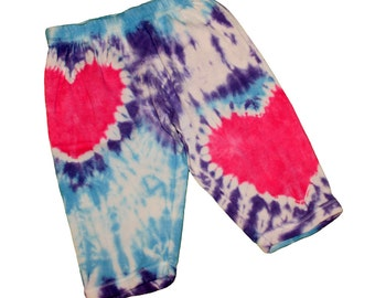 Baby Pants in Light Blue and Lavender Tie Dye with Hot Pink Tie Dye Hearts- Size 12M and READY TO SHIP