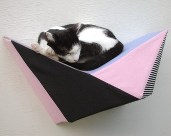 Geometric cat shelf wall modern bed in pink, blue, black & white stripes