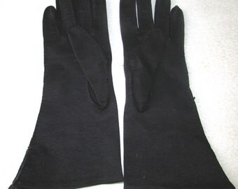 Black cotton beaded dress gloves small 6 6 1/2 vintage 50s