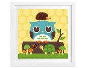 85 Owl Print - Owl and Friends on Log Wall Art - Owl Home Decor - Owl Nursery Art - Owl Art - Owl Lover Gift - Owl Poster - Hedgehog Print
