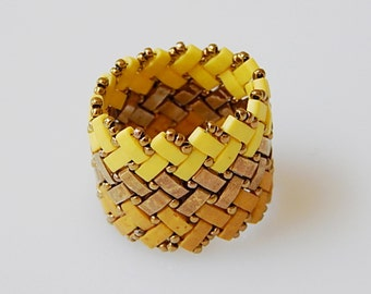 Wide Basket Weave (Yellow Shades) Ring