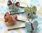 4 wood butterfly button bobby pins,silver hair bobby pins,hair pins,bobby pins,butterflies,butterfly hair pins,wood butterflies,women,teens