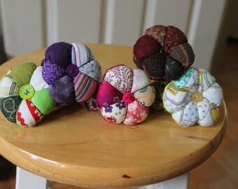 Pink floral cotton mini pincushion wristlet,patchwork mini pincushion wristlet,purple mini pincushion,burgundy pincushion wristlet,