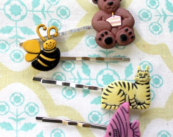 4 hair bobby pins,cat,bear,bee,fish,hair pins,cat hair pin,bear hair pin,bee hair pin,fish hair pin,child hair pins,teen hair pins