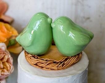 Pale Green Snuggling Love Bird Cake Topper
