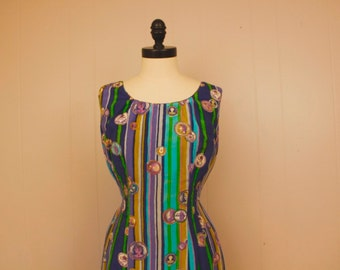 Vintage 1950's Tiana Pittelle Silk Wiggle Dress Purple Green Blue