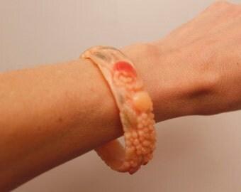 Vintage 1930's Peach Celluloid Painted Bangle Bracelet Japan Floral