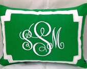 Gifts for her, Lumbar Monogram Pillow covers, Green Accent Sofa Pillows, Green Couch pillows, Green Decorative Throw Pillows