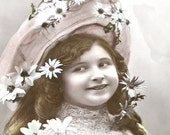 1910 French postcard, Edwardian girl with dasies on her bonnet, RPPC paper ephemera.