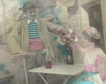 SALE 1900s postcard, Edwardian couple, RPPC real photo posst card, paper ephemera.