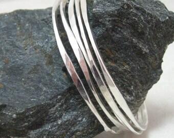 Bi-Directional Hammered Bangles in Sterling Silver, Artisan Handmade Sterling Hammered Bangles, Available in Sets