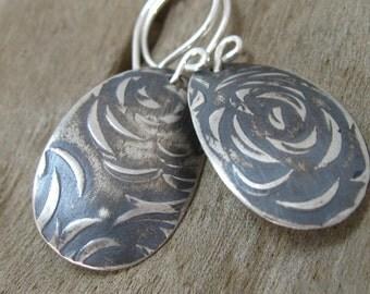 Floral pattern oxidized sterling silver dangle earrings, sterling pattern drop earrings