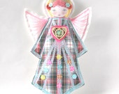 Celtic Angel Ornament, Guardian Angel, Scottish Doll, Tartan Decor, Modern Folk Angel, Textile Angel Decoration