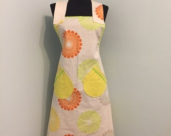 Apron - 100% Cotton Apron for Women - one size fits most- Kitchen   Hostess - Citrus - Free US Shipping
