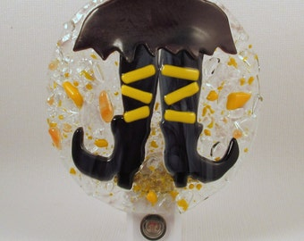 Fused Glass Halloween Witch Legs Dusk to Dawn LED Nightlight