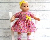 Bitty Baby Dress, Pink Butterfly Dress and Matching Headband, 15 inch Doll Clothes, fits American Girl Bitty Twin too!