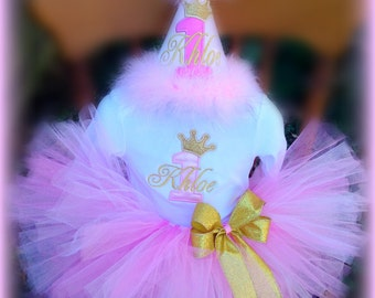 Pink and Gold Birthday, 4 Pc. Set, Pink and Gold Cake Smash, Pink and Gold 1st Birthday Hat,  Bodysuit, Ribbon Bloomers and TUTU.