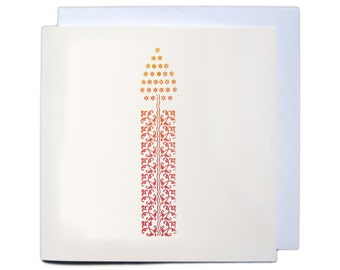 Letterpress Christmas Greetings Card - Ornament Candle