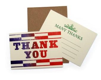 Letterpress Thank You Notelet Pack