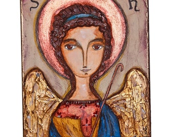 Saint Raphael - Archangel - Original Painting on Wood Block by FLOR LARIOS (6 x 8  inches)