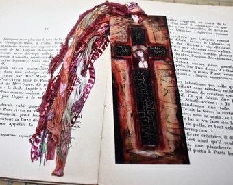 Jesus on the Cross -  Laminated Bookmark  Handmade - Original Art by FLOR LARIOS