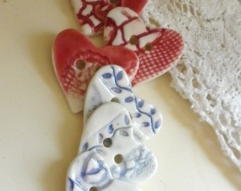 A Set Of 6 Handmade Heart Sew On  Buttons