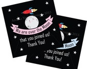 Cute Moon Goodie Bag Thank you tag Pink